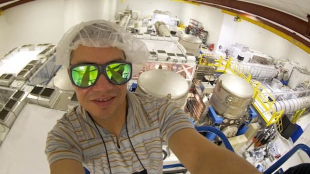 Corey Gray, Siksika/Northern Blackfoot, in his lab at the LIGO detector in Washington State, where he is the lead operator for one of the facilities that registered gravitational waves emanating from a collision of two black holes billions of years ago.