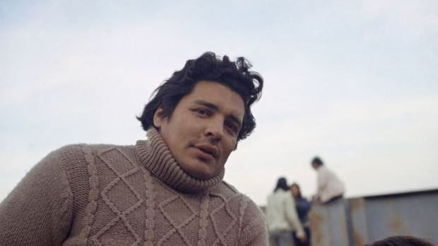 Richard Oakes, one of the Indian leaders in Alcatraz, is seen here on November 17, 1970. He was also among the leaders who started the scholarship for Native American students from donations.