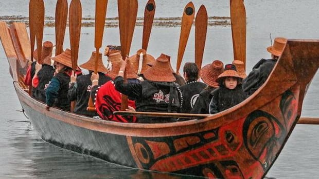 Loo Taas, the famous canoe built by Bill Reid, at the Haida Heritage Centre in Haida Gwaii, British Columbia.