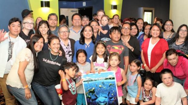 """Just some of the 200 Natives who turned up in Silver Spring, Maryland to see the Navajo language version of """"Finding Nemo."""""""