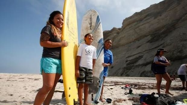 Learning to surf in the Kumeyaay territory of San Diego