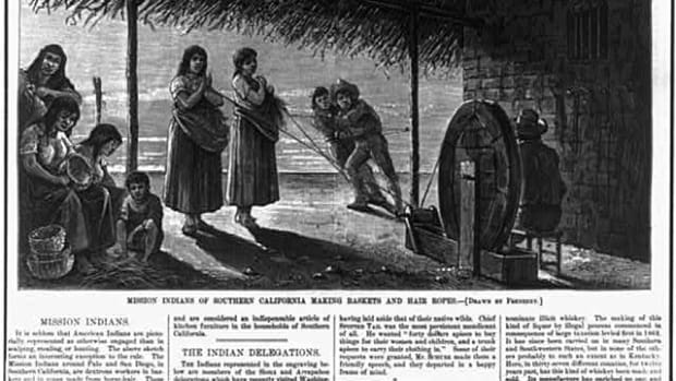 Mission Indians of Southern California make baskets and hair ropes in this drawing that appeared in Harper's Weekly in 1877.