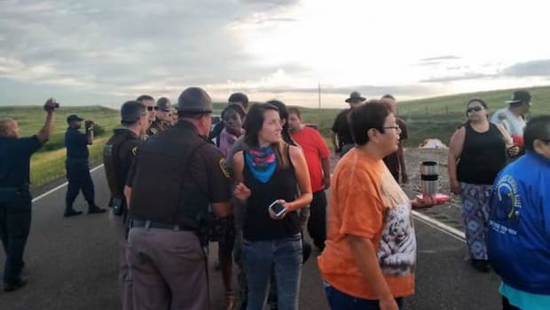 Protesters at the construction site of the Dakota Access pipeline in North Dakota.