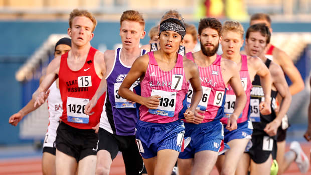 Avery Hale leads the race during the Kansas Relays. On May 14, he led the men's team to second place in the Big 12 Championships in Lawrence, Kansas. Courtesy Kansas University Athletics.