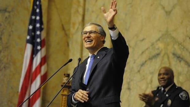 Washington Governor Jay Inslee at the State of the State address in January.