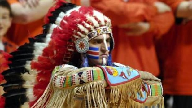 Chief Illiniwek of the University of Illinois Urbana-Champaign. School anti-discrimination and anti-bullying policies should include anti-racial mascots, writes citizen of the Ho-Chunk Nation Martie Simmons.