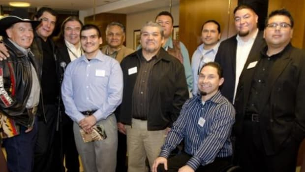 Tribal leaders gathered in support of the California Tribal College initiative at the SNR Denton law firm in San Francisco, California on Wednesday, December 14, 2011.