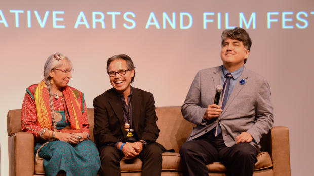 The One Heart Native Arts and Film Festival was marked by applause and laughter highlighted with the likes of Sherman Alexie, Steven Paul Judd, Sterlin Harjo and actor Evan Adams. (l to r) Monique Majica, Evan Adams and Sherman Alexie.