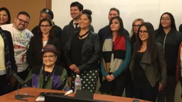 Dr. Suzan Shown Harjo (seated) spent Monday evening speaking with students and professionals at the University of Nevada Las Vegas as part of a Native American Heritage Month event.