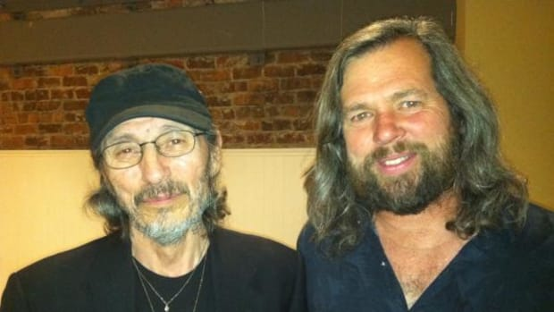 John Trudell and Mike Mease, co-founder of Buffalo Field Campaign during Buffalo Field's 2012 West Coast Road Show.