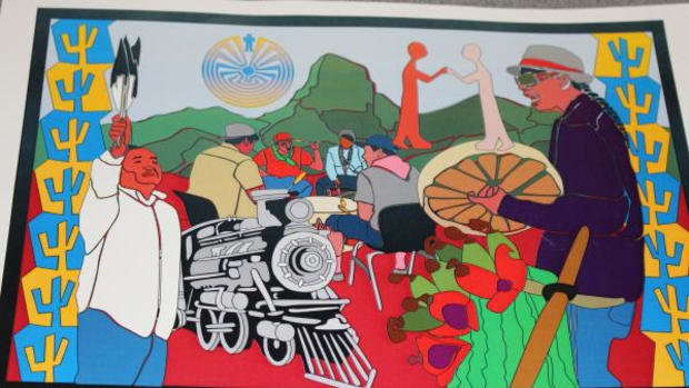 "This image, titled ""Baboquivari's Concept"", was on display at the ""Vail Meet Yourself"" event on April 30 in Vail, Arizona. Community members from Vail and the Tohono O'odham Nation gathered to discuss land, sites, and identity."