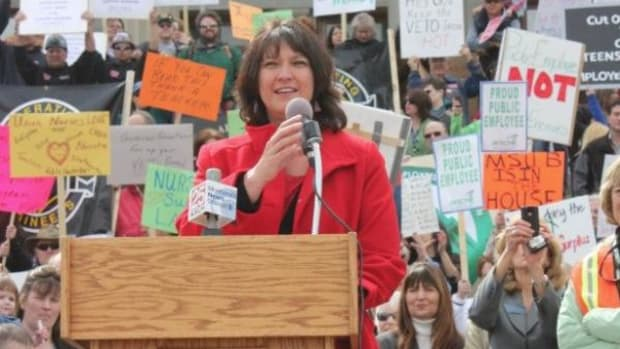 Denise Juneau speaking at a rally in 2011