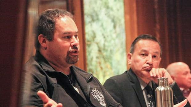 West Moberly First Nation chief Roland Willson (left) speaks out against the Site C hydroelectric dam alongside Union of B.C. Indian Chiefs president Grand Chief Stewart Phillip.