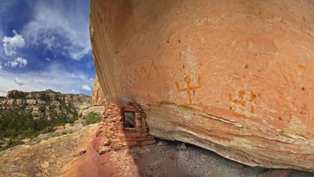 Ancestral Puebloan granary and rock art inside the proposed Bears Ears National Monument.