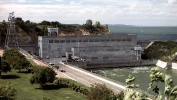The Gavins Point Dam, on the Missouri River, near Yankton, SD, was built from 1952-57 as part of the Pick-Sloan Plan.