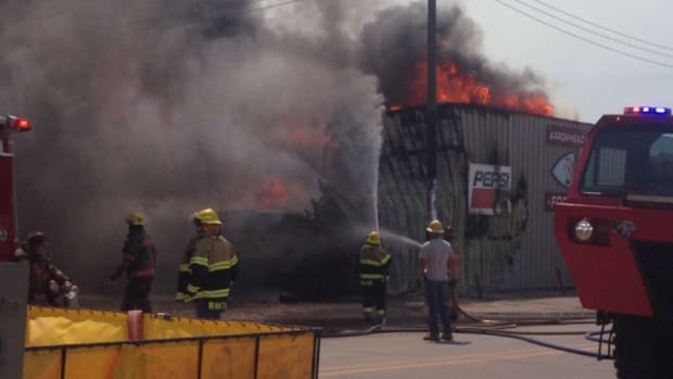 A fire devastated Arrowhead Foods in Whiteclay on Monday morning.