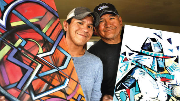 Baje Whitethorne Sr. and Jr. are a Navajo-Dine' father and son painting team who showed their skills at Indian Market.