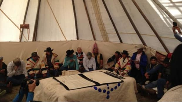 Tribal leaders gathered for the signing of the Buffalo Treaty