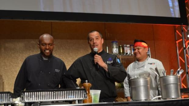 Ka'ainoa Ravey, Ahmed Obo, Freddie Bitsoie at the first Thunder Chef Native cook off competition