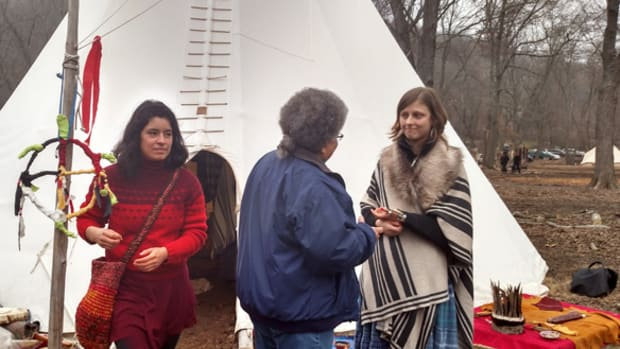 Sophia's visit was an inspiration to many of the water protectors at the Sweet Water Camp. Photo Cliff Matias