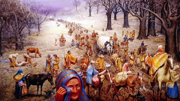 A painted depiction of the Cherokee removal on the Trail of Tears.