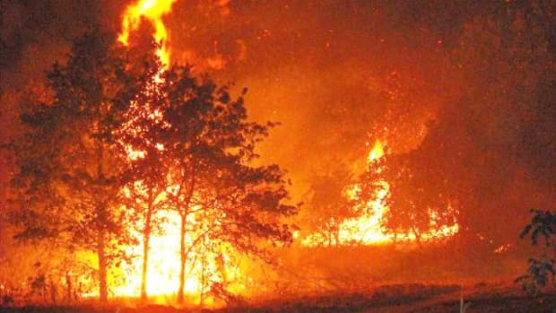 Wild land fire battled by the Choctaw Nation Forestry Department.