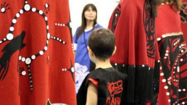 First Nation child attending ceremony at the Vancouver Aboriginal Friendship Centre.
