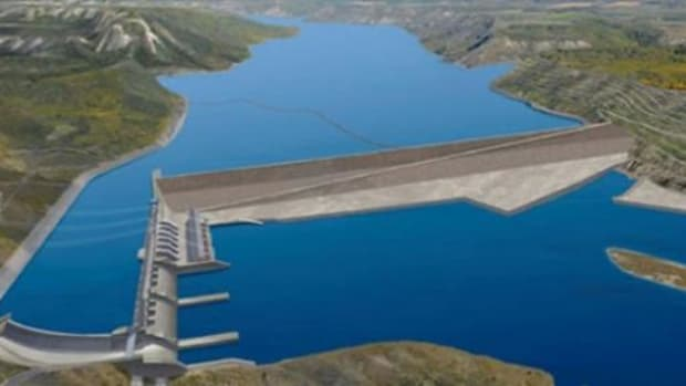 Artist rendering of B.C. Hydro's Site C dam, which would flood sacred Treaty 8 lands in the Peace River Valley in British Columbia.