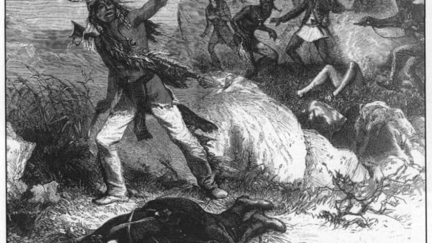 """One of William Simpson's most widely published illustrations, titled """"A Scalp for Captain Jack"""" and run in Harper's Weekly, portrays a scene that never happened."""