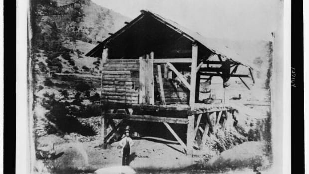 James Marshall, discoverer of gold, at Sutter's Mill.