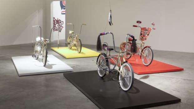"""Dylan Miner's sculpture entry, """"Native Kids Ride Bikes"""" is on display at the Grand Rapids Art Museum."""