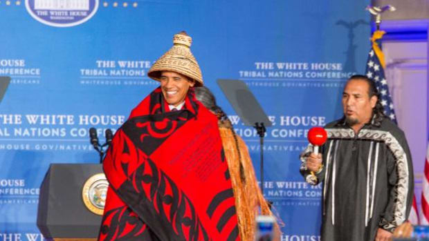 President Barack Obama took the stage wearing a cedar hat at the 8th Annual White House Tribal Nations Conference.