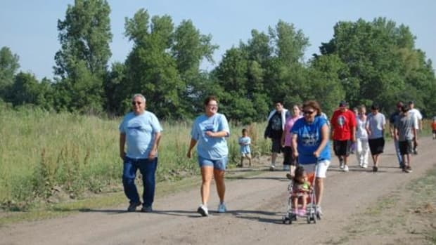 Approximately 100 members of the Kickapoo Tribe of Kansas participated in a Diabetes Awareness Walk May 18 on the Kickapoo Reservation in Brown County, Kansas, which is ranked as one of least healthy counties in Kansas. (By Lorraine Jessepe)