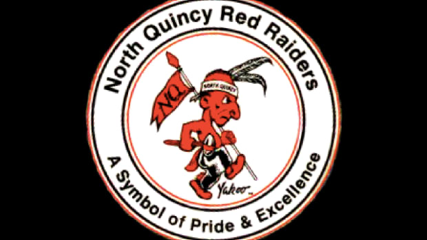 The mascot of the North Quincy High Red Raiders in Quincy, Massachusetts, is a caricature of an aggressive Indian gripping a spear, like many such Native American mascots.