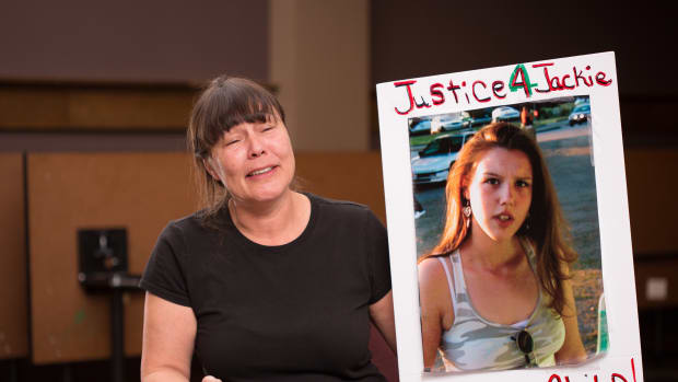 Police shot Lisa Earl's daughter, Jackie Salyers (shown in poster), on January 28, 2016, during a failed attempt to arrest her boyfriend. At her daughter's funeral, Earl called for justice for everyone impacted by police violence.
