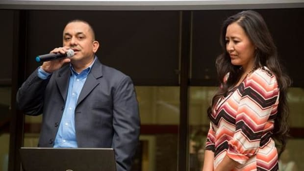 Rob Salas and his wife Kim Moore-Salas talk about Tribal Indemnity, LLC and thanks business launch attendees for showing support, on January 19.