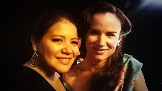 Misty Upham with her 'August: Osage County' co-star Juliette Lewis at the Screen Actors Guild Awards, where the cast of the film was nominated for the Outstanding Performance by a Cast in a Motion Picture award.