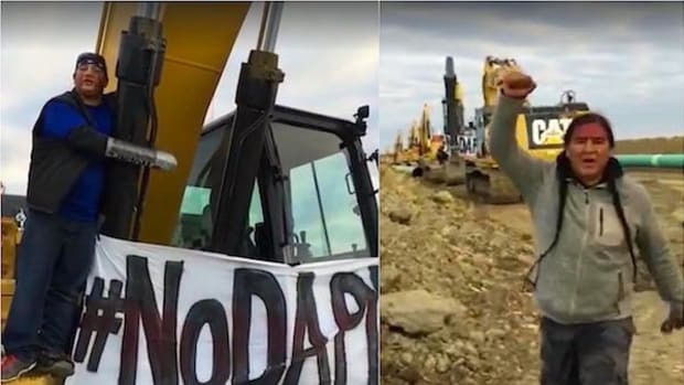 Water protectors chained themselves to equipment and rallied at several Dakota Access pipeline construction sites on Tuesday and Wednesday, September 13 and 14.