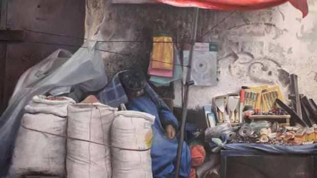 Pastel drawing of a Bolivian woman at her market stall, by Rosmery Mamani Ventura