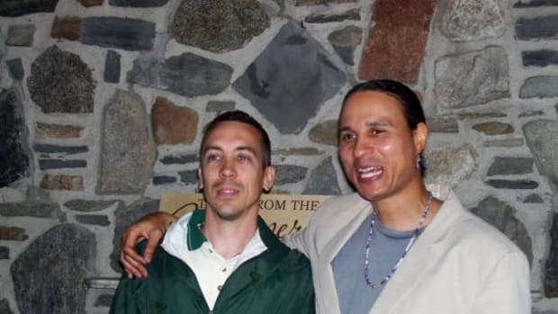 Brian Chenevert (left), Abenaki, with his good friend Larry Spotted Crow Mann (right), Nipmuc