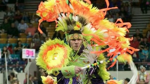 A dancer performs at the Denver March Powwow in 2011.