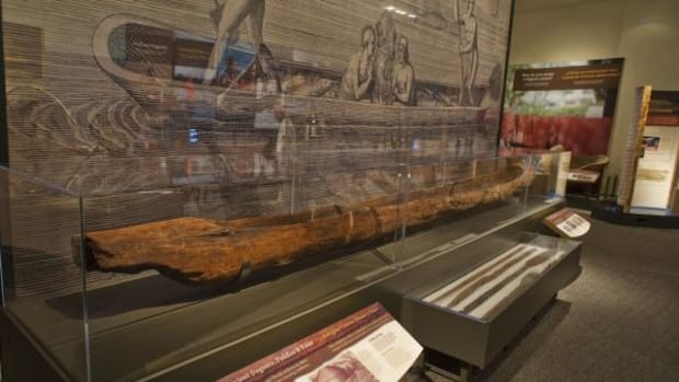 """This 400-year-old pine dugout canoe will be on display September 27, 2014, through May 2015 at the Chickasaw Cultural Center as part of """"Dugout Canoes: Padding through the Americas."""""""