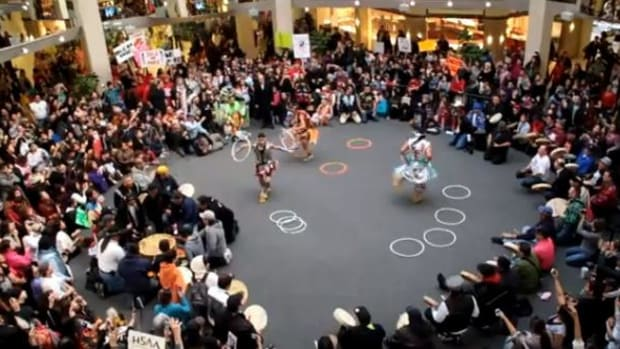 Idle No More Grand Entry hoop dance in Turtle Island's largest mall, in Edmonton, Alberta, Canada, on January 13, 2013.