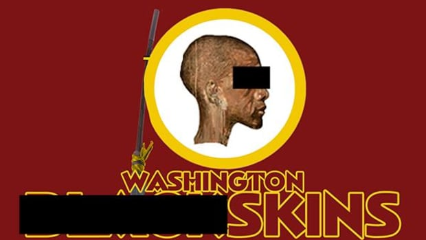 An image, created by the author and meant to give a different context for the Washington Redskins imagery, proved highly controversial.