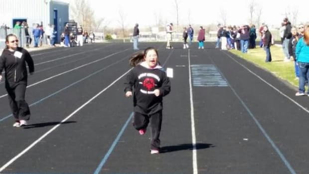 Sway-Anne Byrd, Cherokee, is a 14-year-old competitor in the Special Olympics.