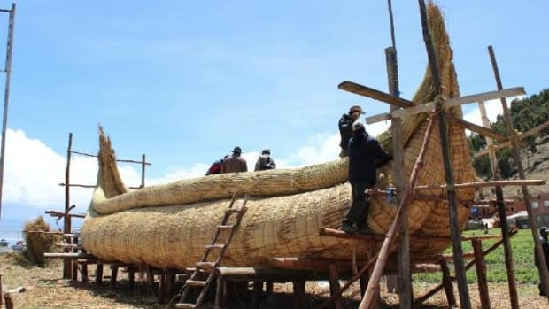 Summer Solstice: The residents of Suriqui Island, located in Lake Titicaca, are building this massive boat to carry President Evo Morales on a tour around Lake Titicaca to mark the southern hemisphere's winter solstice on December 21.