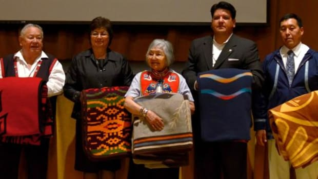 Ecotrust's 2011 Indigenous Leadership Awards honorees were, from left, Clan Chief Adam Dick, Honorable Delores Pigsley, Nora Dauenhauer, Chuck Sams, and Wayne Warren Don at the awards ceremony November 2, in Portland, Oregon.