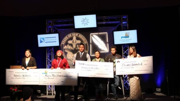 Congratulations to all the participants in the Shark Tank Challenge. The first place prize of $1,000 sponsored by PNM went to Victor Corpuz, a high school student at Laguna-Acoma, who made a pitch to develop his idea to create an art and skateboard making company, Maize Mob Skateboards. Second place with a prize of $750 sponsored by Los Alamos National Laboratories & LANS went to Evelyn Lazero to develop United for Wellness. A third place prize of $500 sponsored by Flintco went to Mariah Castillo, Kevin Sandoval and Josh Haynes to develop Journey to the Water. And a fourth place prize of $250 went to Jynx Lalio to develop Dreams Unlimited.