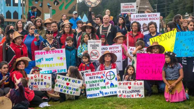 Members of the Tlingit, Haida and Tsimshian tribes in Alaska gathered in Juneau to sing, dance and drum in support of the Standing Rock Sioux's fight to divert the Dakota Access oil pipeline from their waters.