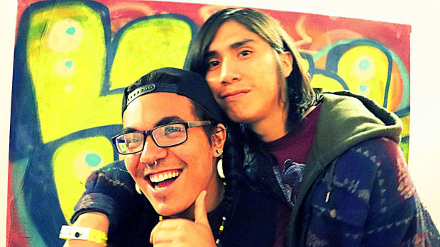 In celebration of New York City's Pride month, the AICH will be hosting the only Native American/First Nations/indigenous Two-Spirit pride event on Sunday, June 24th. In this photo, Paulino Celestino Mejia and Eden Jumper at the Two Spirit Electric Round Dance in Albuquerque, NM.